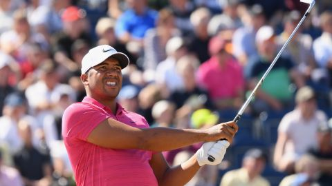 Jhonattan Vegas plays his shot from the third tee during the first round of the 147th Open Championship at Carnoustie Golf Club on Thursday in Carnoustie, Scotland.