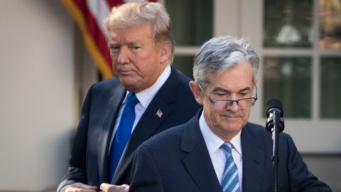 President Donald Trump looks on as his nominee for the chairman of the Federal Reserve Jerome Powell takes to the podium during a press event in the Rose Garden at the White House, November 2, 2017 in Washington, DC. Current Federal Reserve chair Janet Yellen's term expires in February.  (Drew Angerer/Getty Images)