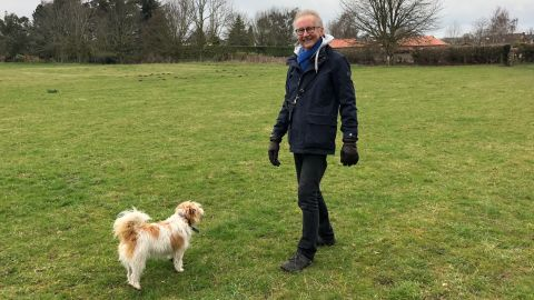 Phil and his dog Binky after second diagnosis in 2017