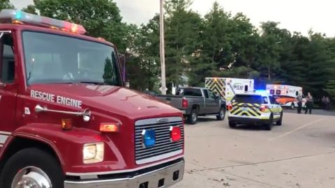 """From Southern Stone County Fire Protection District via Facebook: This is the staging area during the initial response to the """"MCI"""" The Branson Belle was not involved in the incident. https://www.facebook.com/sscfpd/videos/10155428857546697/"""
