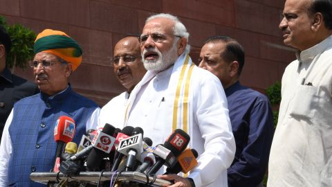 Indian Prime Minister Narendra Modi addresses the media at Parliament House in Delhi earlier this year.
