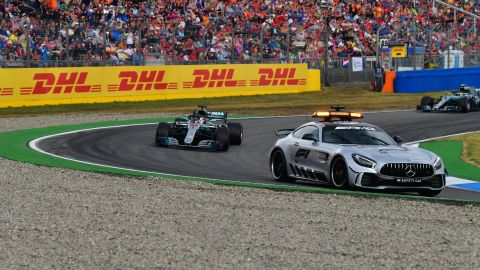 The incident occurred under the safety car after Vettel's crash