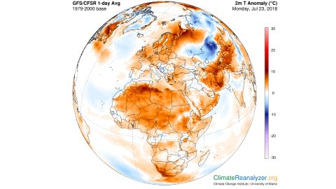 Temperatures compared to normal, with red/orange showing temperatures well above average for much of the Northern Hemisphere.