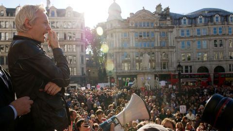 In October 2011, a month after WikiLeaks released more than 250,000 US diplomatic cables, Assange speaks to demonstrators from the steps of St. Paul's Cathedral in London.