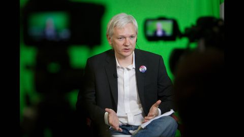 Assange addresses the Oxford Union Society from the Ecuadorian Embassy in January 2013.