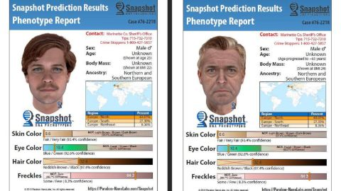 The composite images show the suspect around age 25 and what he'd look like now, around age 65.