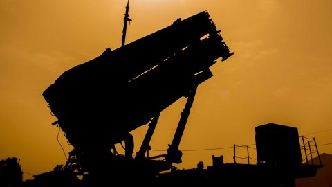 """A US Patriot missile defence system is pictured during the Israeli-US military exercise """"Juniper Cobra"""" at the Hatzor Airforce Base in Israel on March 8, 2018."""
