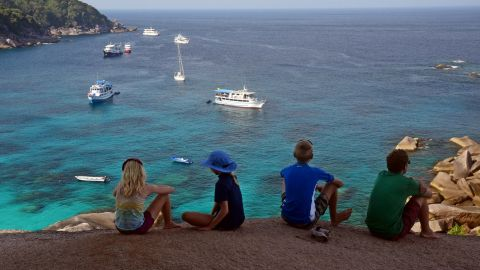 The Gifford family looks out onto the Andaman Sea in the Indian Ocean.