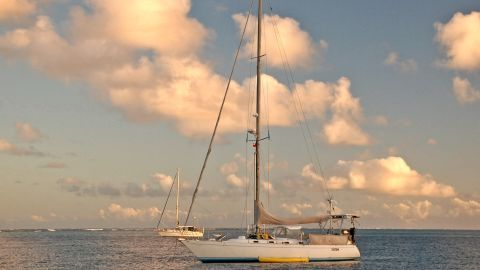 Sailing Totem takes a much-needed break in Tonga. Built in 1982, the fiberglass-made sailboat was purchased for $190,000 by the Giffords in 2007. It comes equipped with a 75-horsepower engine, and is fitted with three bedrooms and two bathrooms.