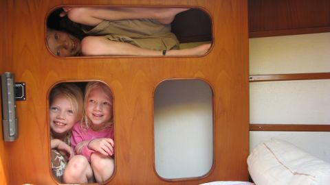 """Sailing Totem is where the Giffords' sleep, even when docked on land. """"The boat is our home,"""" says mom Behan. """"It would be very strange to check out of our home and into a hotel when our home is right there."""""""