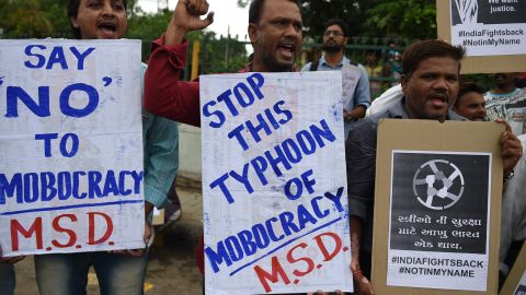 Indian activists take part in a protest against mob lynchings in India, in Ahmedabad on July 23, 2018.