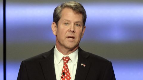 IN this May 20, 2018, file photo, Georgia Republican gubernatorial candidate Brian Kemp participates in a debate in Atlanta. President Donald Trump's surprise endorsement of Kemp is the latest example of the president diving deep into GOP primary politics. Kemp was surprised by the endorsement over his opponent in the runoff, Casey Cagle. (AP Photo/John Amis, File)