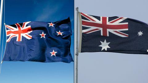 New Zealand's flag, left, and Australia's flag.