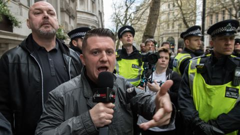 Tommy Robinson at a protest in London in 2017 after a terror attack in the UK capital.
