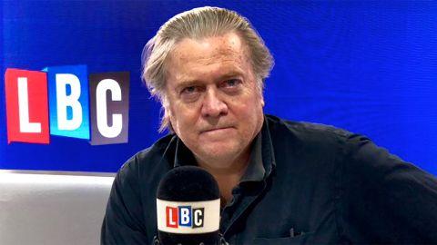 Steve Bannon appeared on Nigel Farage's show on LBC radio in London.