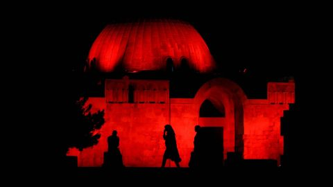 <strong>Amman, Jordan: </strong>The Citadel archaeological site, in downtown Amman, is illuminated red to celebrate the 50th anniversary of the Special Olympics.