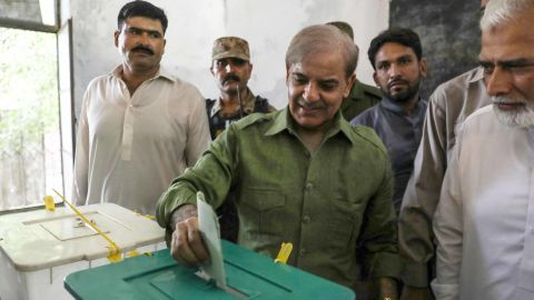 Shahbaz Sharif of the Pakistan Muslim League-Nawaz casts his ballot Wednesday in Lahore.