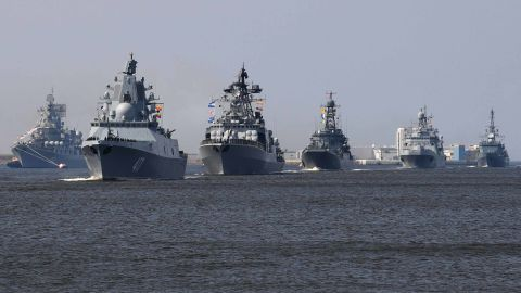 Russian navy ships, among them Russian Navy Frigate 'Admiral Gorshkov (2L), sail near Kronshtadt naval base outside Saint Petersburg on July 20, 2018, during a rehearsal for the Naval Parade. - A Naval Military Parade will take place in Saint Petersburg and Kronshtadt on Russia's Navy Day, July 29. (Photo by OLGA MALTSEVA / AFP)        (Photo credit should read OLGA MALTSEVA/AFP/Getty Images)