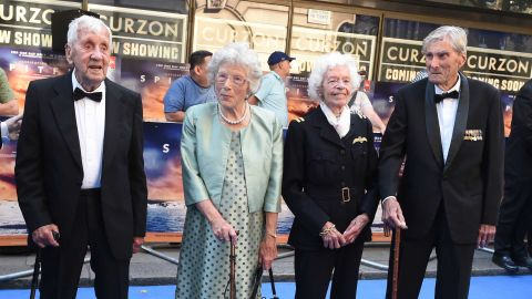 """RAF Veterans Allan Scott, Joan Fanshawe, Mary Ellis and Paul Farnes attend the World Premiere of """"Spitfire"""" at the Curzon Mayfair cinema on July 9."""