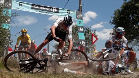 Cyclists crash at the end of the ninth stage on July 15.