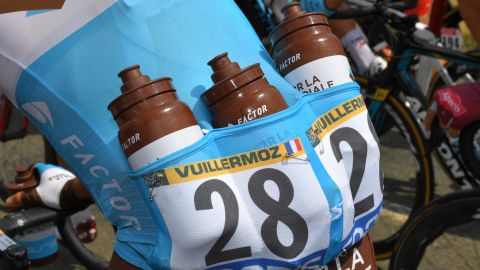 France's Alexis Vuillermoz had plenty of water for the eighth stage on July 14.