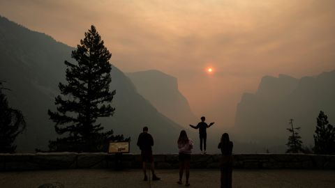 Smoke from the Ferguson Fire fills California's Yosemite Valley on Wednesday, July 25. Some of the most iconic areas of Yosemite National Park were forced to close because of the wildfire.