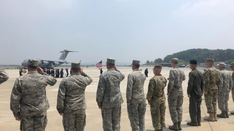 Troops serving under the UN Command in South Korea form an honor guard to receive possible remains of soldiers killed in the Korean War. July 27, 2018
