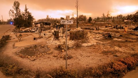 Burned-out properties are seen in Redding on July 27.