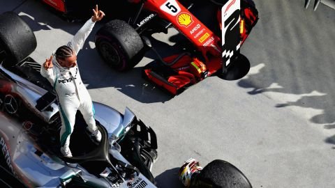 Hamilton -- 213 points<br />Vettel -- 189 points<br />Raikkonen -- 146 points