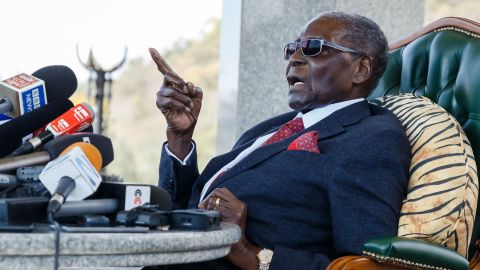Former Zimbabwean President Robert Mugabe speaks during Sunday's news conference.
