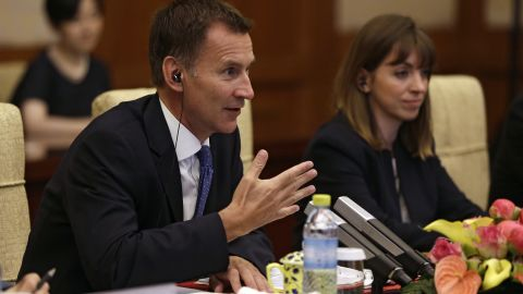 Britain's Foreign Minister Jeremy Hunt accidentally called his Chinese-born wife Japanese during a meeting with Chinese Foreign Minister Wang Yi in Beijing on Monday.