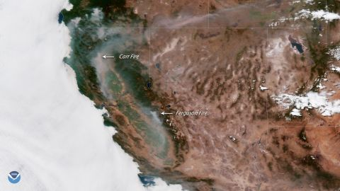 Smoke from the Carr and Ferguson fires can be seen in satellite images.