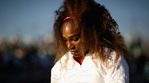SAN JOSE, CA - JULY 31:  Serena Williams of the United States serves gets ready by her chair before her match against Johanna Konta of Great Britain during Day 2 of the Mubadala Silicon Valley Classic at Spartan Tennis Complex on July 31, 2018 in San Jose, California.  (Photo by Ezra Shaw/Getty Images)