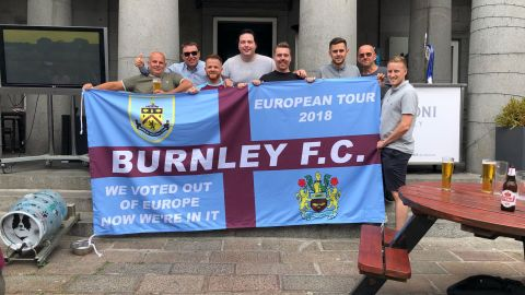 Burnley fans pictured ahead of the Europa League qualifying game with Aberdeen.
