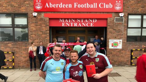 Burnley fan Simon Townley ahead of the game with Aberdeen last week.