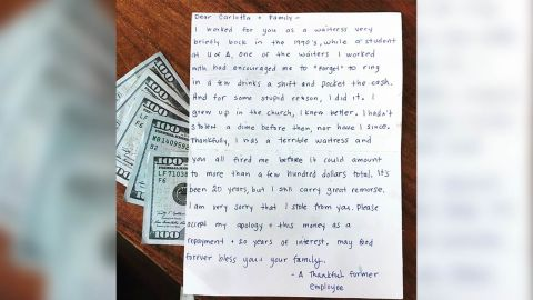A woman who was a waitress at a restaurant in Tucson more than 20 years ago sent a letter to the owners saying she stole some money. In the letter she apologized and sen $1,000 in cash. The photo is a photo of the letter provided by Ray Flores, son of the owner of El Charro Café in Tucson. He provided the photo and gave us permission to use it. Thanks.