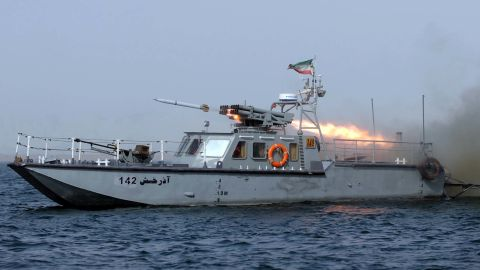 """An Iranian war-boat fires a missile during the """"Velayat-90"""" navy exercises in the Strait of Hormuz in southern Iran on December 30, 2011. Iran, which has been carrying out war games in the Strait of Hormuz over the past week, has said that """"not a drop of oil"""" would pass through the strait if Western governments follow through with planned additional sanctions over its nuclear programme.  AFP PHOTO/IIPA/ALI MOHAMMADI (Photo credit should read ALI MOHAMMADI/AFP/Getty Images)"""