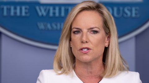 """US Homeland Security Secretary Kirstjen Nielsen speaks during press briefing on national security at the White House in Washington, DC, on August 2, 2018. - The US government on Thursday accused Russia of carrying out a """"pervasive"""" campaign to influence public opinion and elections, in a public warning just months before crucial legislative elections. (Photo by NICHOLAS KAMM / AFP)        (Photo credit should read NICHOLAS KAMM/AFP/Getty Images)"""