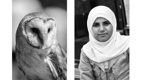 """Our first impression of this pairing, Aëgerter said, is probably based on how our brains subconsciously assess the similarities between the two: the black-and-white balance and the roundness of both the snowy owl on the left and the woman wearing a headscarf on the right. From there, our reactions may vary because of our backgrounds and cultures. Some may connote wisdom to the owl or nobility or dignity to the woman, which gives the pairing great interpretive flexibility, Aëgerter said. """"But I must be honest, I don't make these pieces based on thinking,"""" she said. """"All these choices are based on intuition. They are almost on the reflex level."""""""