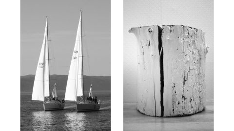 """Aëgerter said she made this pairing because of the parallels in the ways black vertical lines split the two mediums: on the left, sky and water, and on the right, painted wood. """"The reason I probably like it is the rhythm of the image, the interruption by the black lines,"""" she said. The boats' masts divide the image into neat thirds, while the crack in the wooden stump creates two equal halves."""