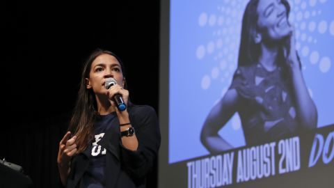 New York congressional candidate Alexandria Ocasio-Cortez addresses supporters at a fundraiser Thursday, Aug. 2, 2018, in Los Angeles. The 28-year-old startled the party when she defeated 10-term U.S. Rep. Joe Crowley in a New York City Democratic primary.  (AP Photo/Jae C. Hong)