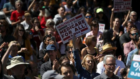 SAN FRANCISCO, CA - SEPTEMBER 22:  Supporters hold signs as U.S. Sen. Bernie Sanders (I-VT) speaks during a health care rally at the  2017 Convention of the California Nurses Association/National Nurses Organizing Committee on September 22, 2017 in San Francisco, California. Sen. Bernie Sanders addressed the California Nurses Association about his Medicare for All Act of 2017 bill.  (Photo by Justin Sullivan/Getty Images)