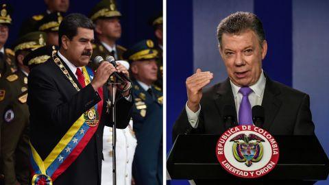 Venezuelan President Nicolas Maduro and Colombian President Juan Manuel Santos.