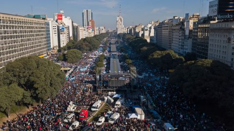 An aerial view of a protest against abortion legalization organized by the Christian Alliance of Evangelical Churches in Argentina.
