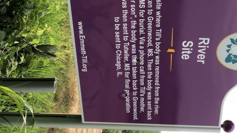 A sign memorializing Emmett Till was vandalized with bullet holes in July.