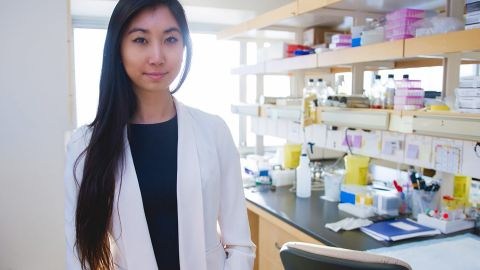 Tie in the lab of her biotech startup Ranomics