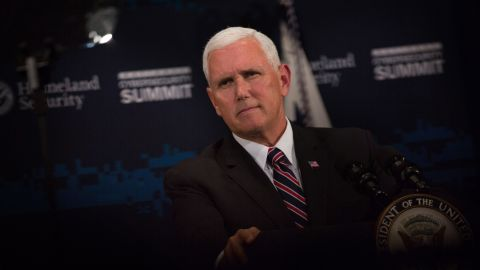 """NEW YORK, NY - JULY 31: Vice President Mike Pence speaks during the Department of Homeland Security's Cybersecurity Summit on July 31, 2018 in New York City. Homeland Security Secretary Kirstjen Nielsen said, """"Cyberattacks now exceed the danger of physical attacks...This has forced us to rethink homeland security."""" (Photo by Kevin Hagen/Getty Images)"""