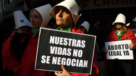 Abortion rights protesters demonstrate outside the National Congress in Buenos Aires.