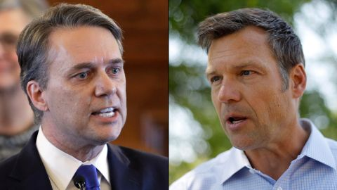 Jeff Colyer, left, and Kris Kobach