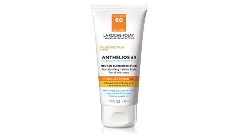 """<strong>La Roche-Posay Anthelios 60 Body Milk Melt-In Sunscreen ($35.99; </strong><a href=""""https://amzn.to/2ORGbJW"""" target=""""_blank"""" target=""""_blank""""><strong>amazon.com</strong></a>)"""